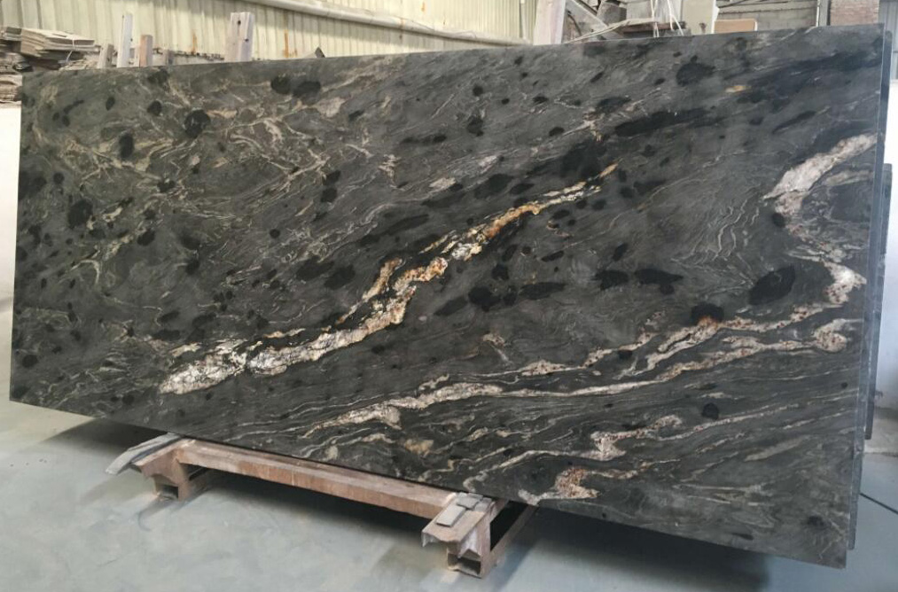 Brazilian Black Cosmic Leather Finish Granite Slabs