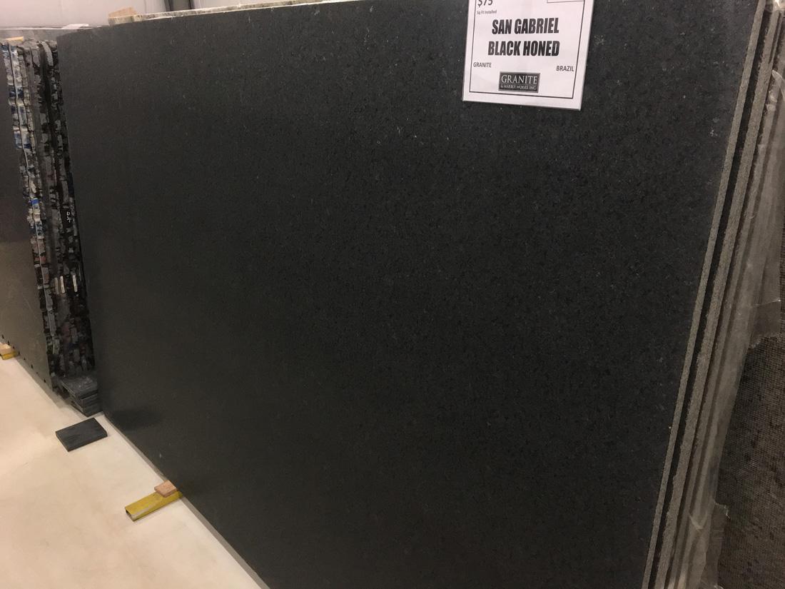 Brazilian Black Granite San Gabriel Black Honed Full Slab