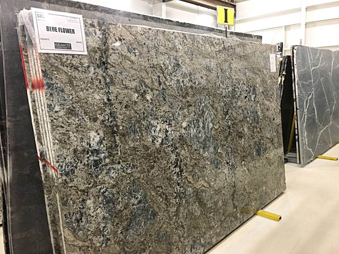 Brazilian Polished Blue Flower Granite Full Slab