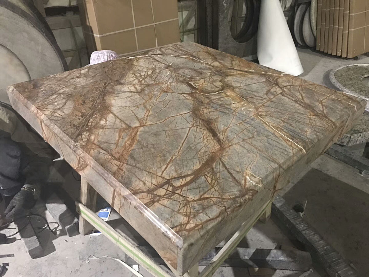 Indian Rainforst Brown Marble,   Square Marble Table