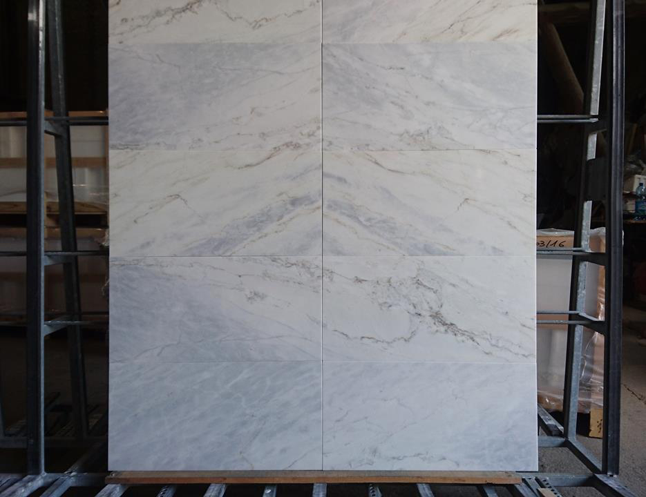 Calacatta Bluette White Polished Marble Tiles