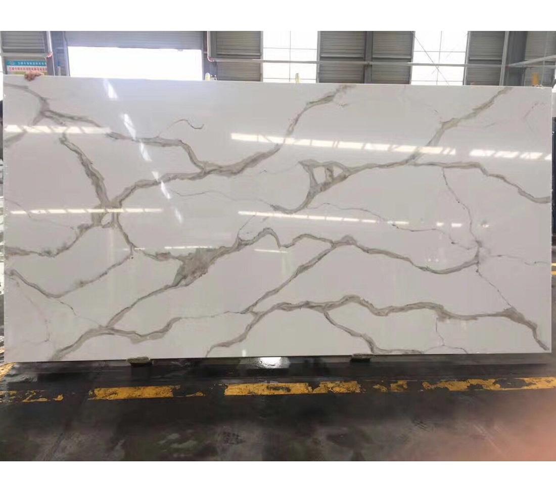 Calacatta Gold Quartz Marble Vein Artificial Quartz Slab