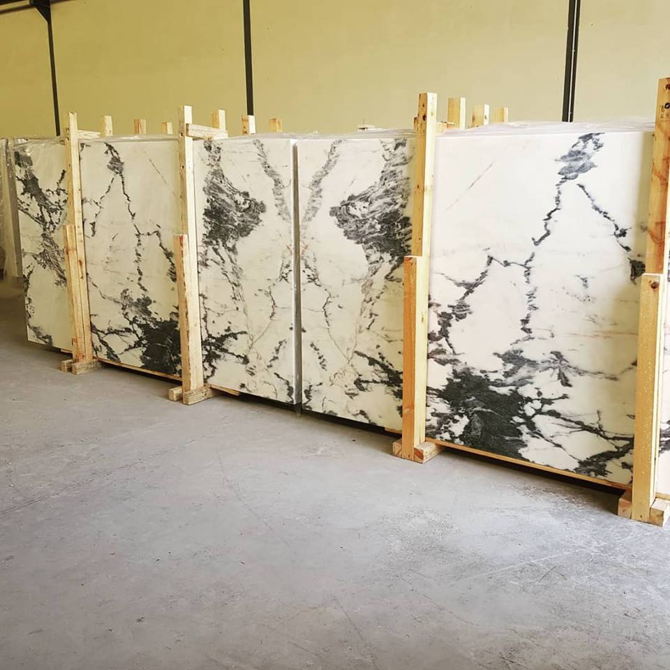 Calacatta Nero Slabs White Polished Marble Slabs
