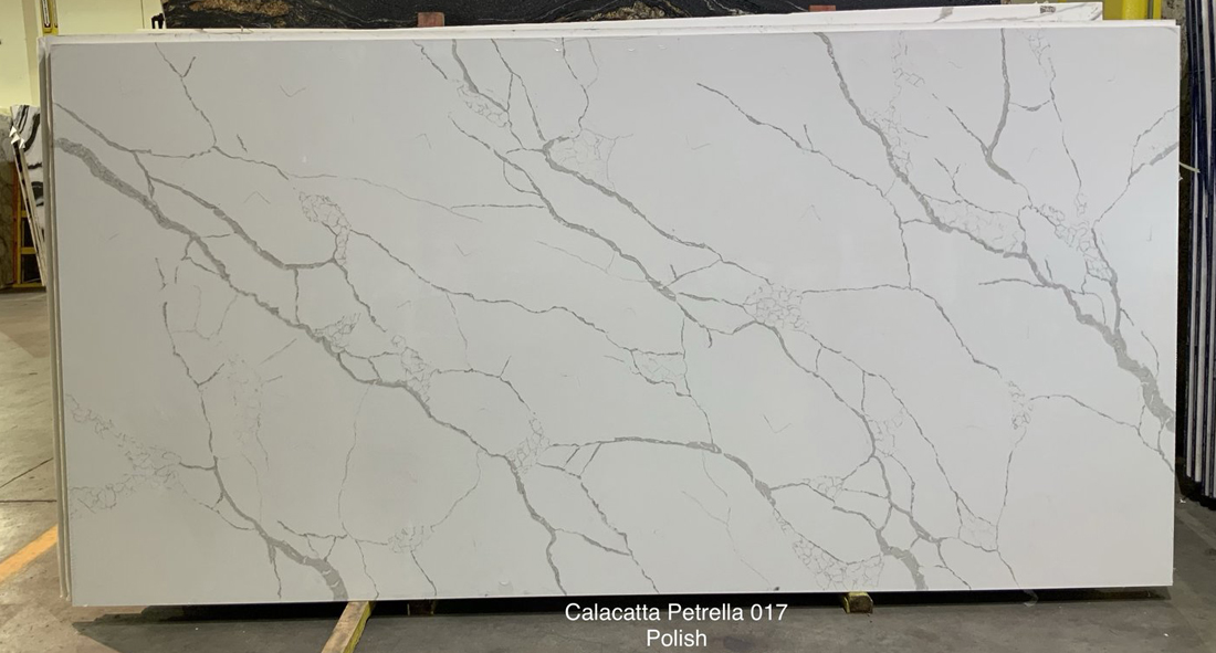 Calacatta Petrella White Quartz Stone Slabs for Kitchen Countertops