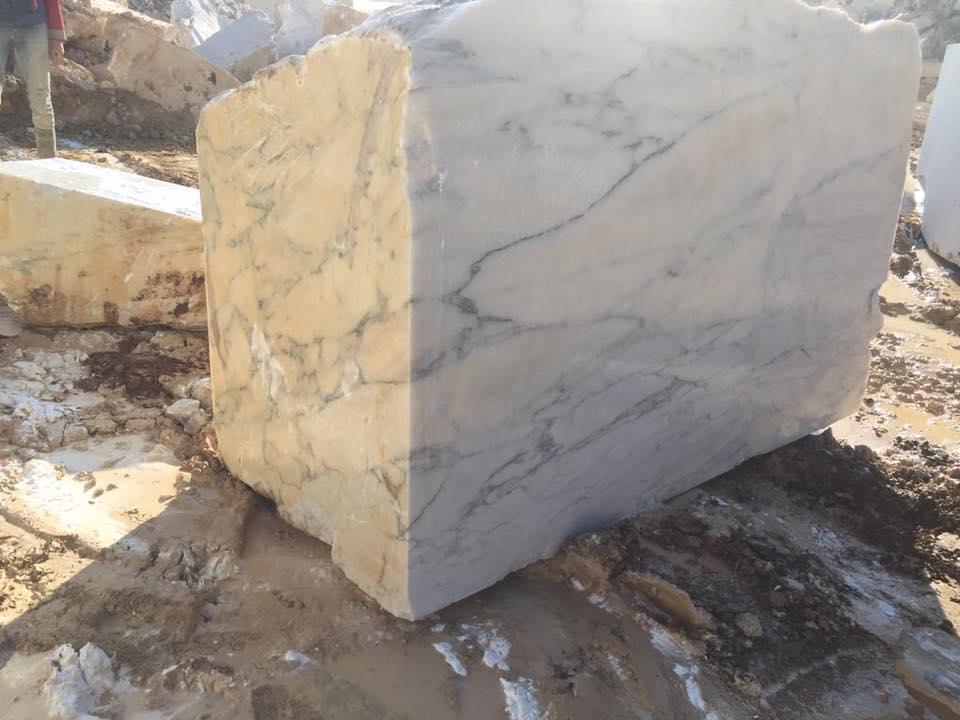 Calacatta Verde Blocks White Marble Blocks from Turkey