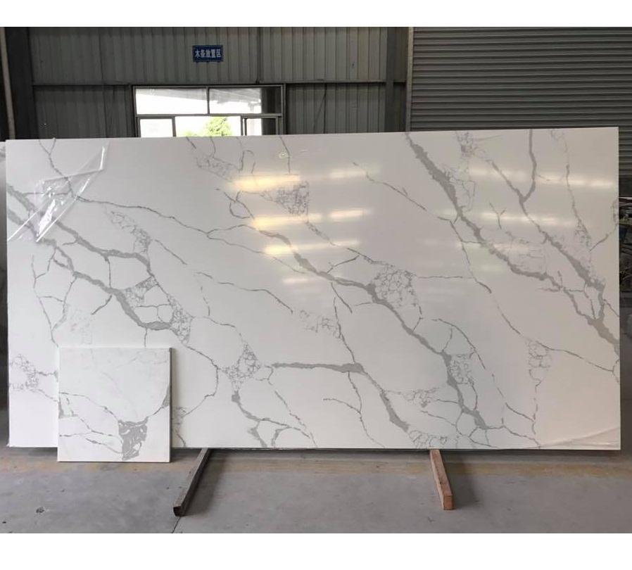 Calacatta White Quartz Marble Vein Artificial Quartz Slab