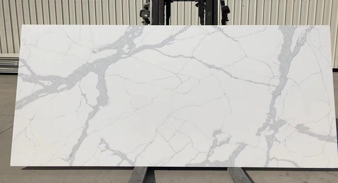 Calacatte White Quartz Slabs Polished White Artificial Stone Slabs