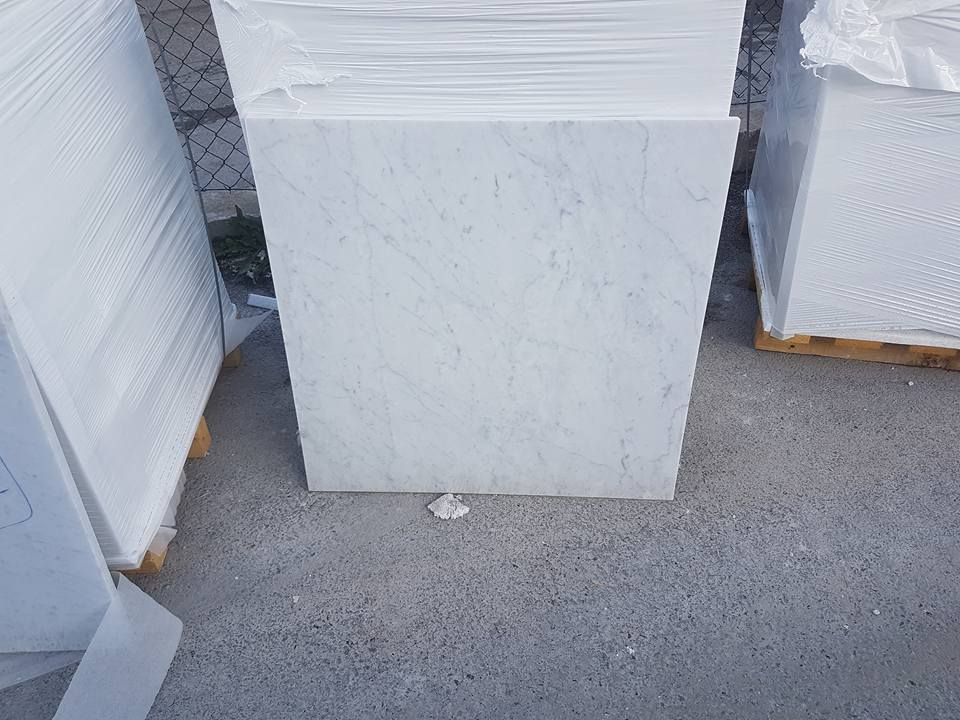 Carrara C Extra White Polished Marble Tiles