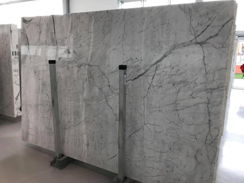Carrara White Polished Marble Slabs Italian White Slabs