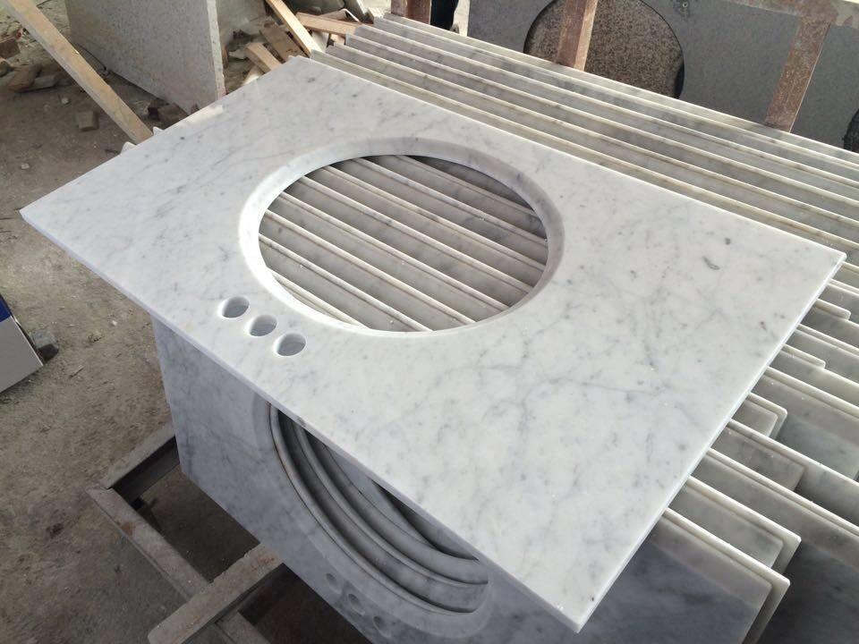 Carrara White Polished Marble Vanity Tops