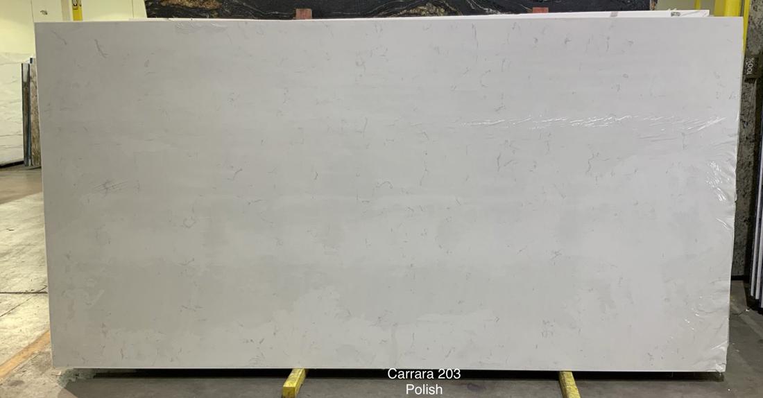 Carrara White Polished Quartz Slabs for Kitchen Countertops