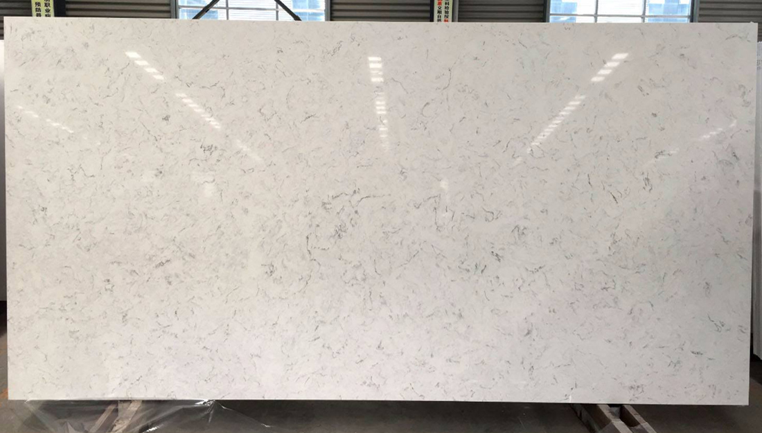 Carrara White Quartz Slab Nice Quartz for Kitchens and Bathrooms