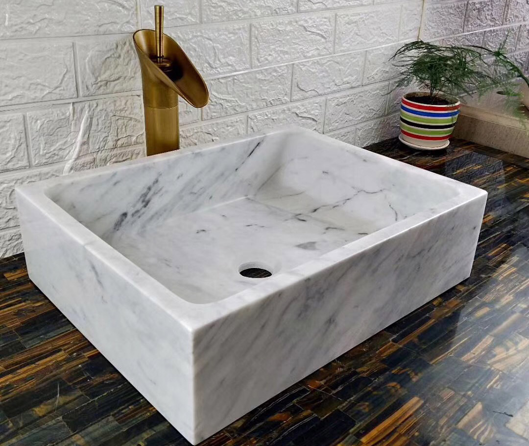 Carrara White Sinks Bathroom Marble Stone Sinks