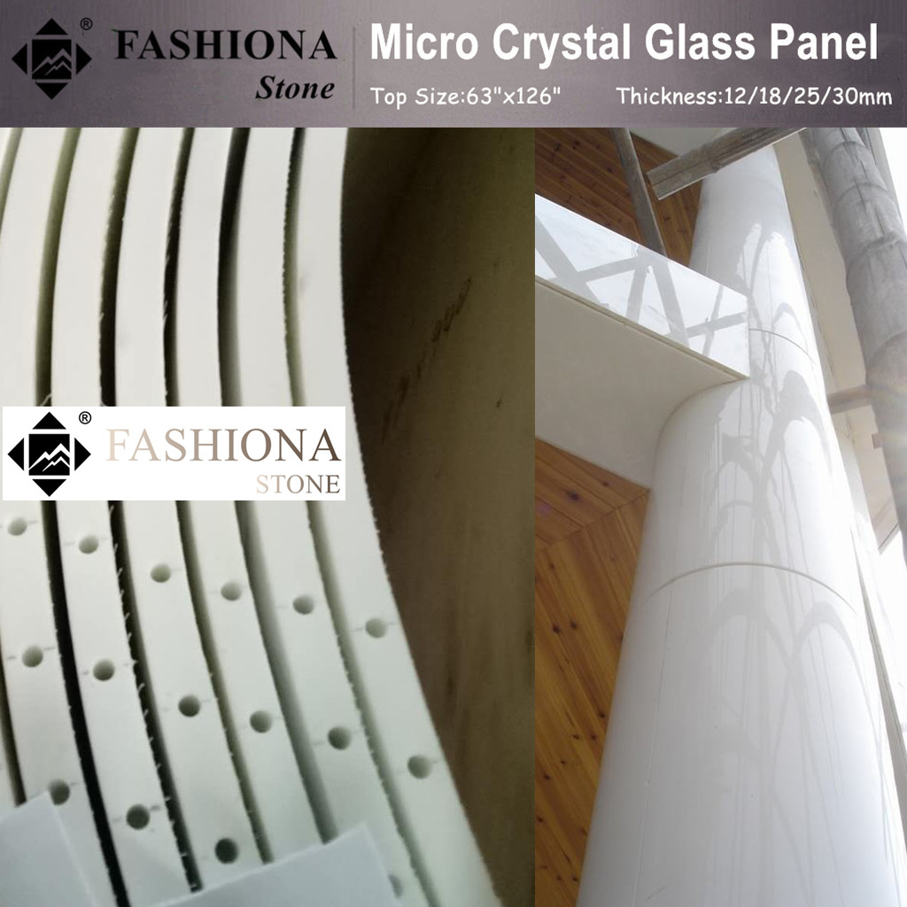 Chinese White Polished Micro Crystal Glass Stone Columns
