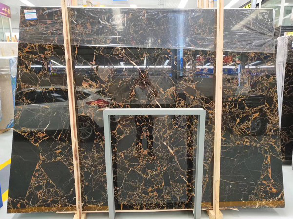 China Athens Black Gold Flower Marble Slabs