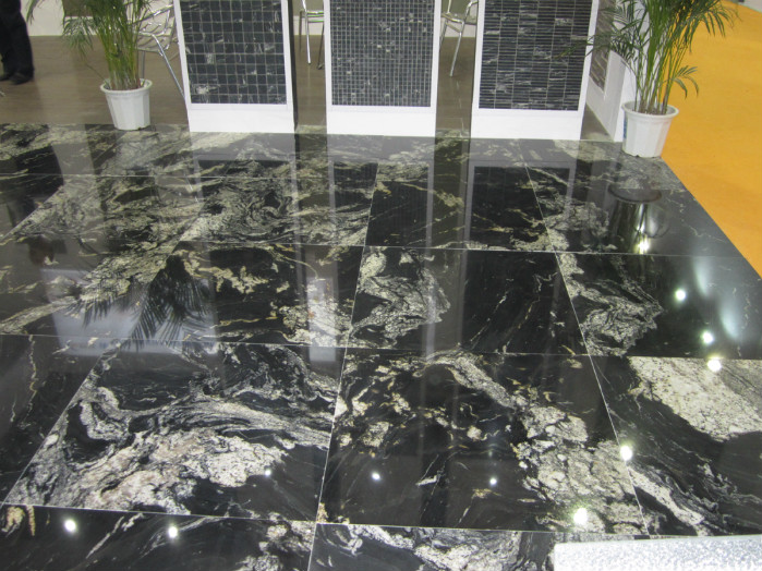 China Black Titanium Royal Ballet White Black Granite Flooring Tiles