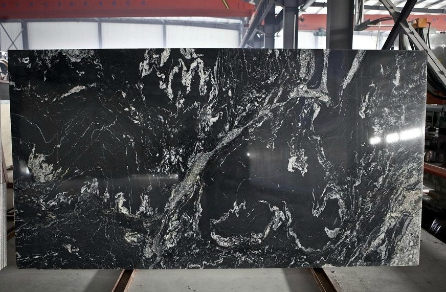 China Black Titanium Royal Ballet White Black Granite Slabs