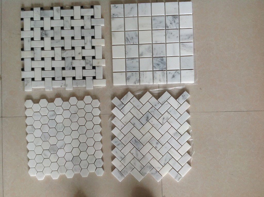 China Cararra Starry Star White Marble Mosaic Tiles