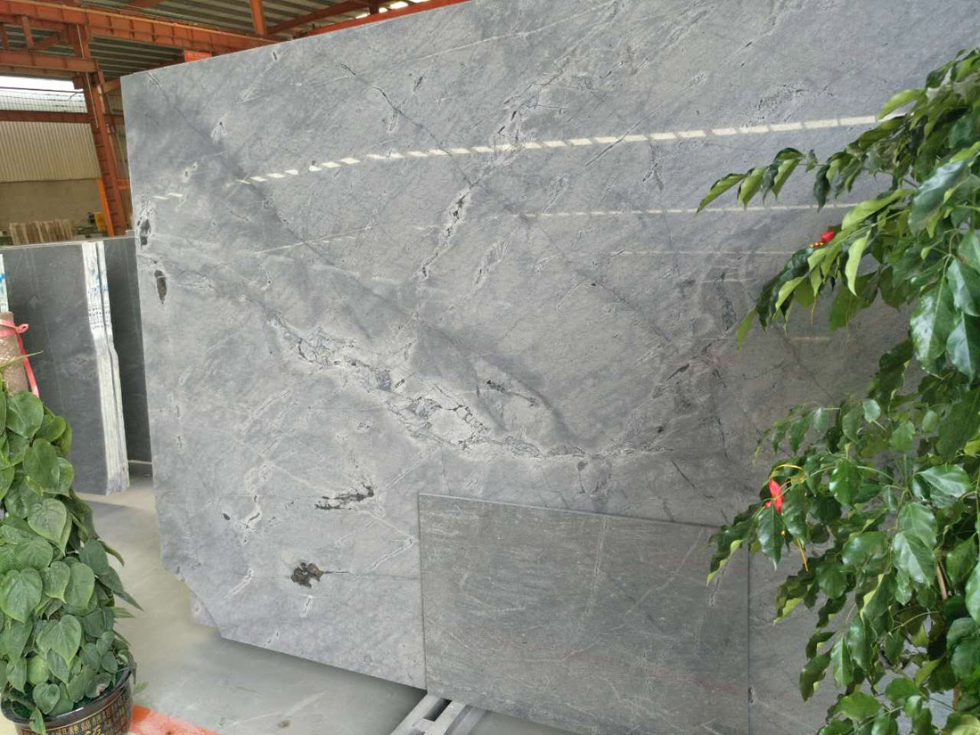 China Grey Galaxy Gray Silver Grey Flamed Marble Slabs