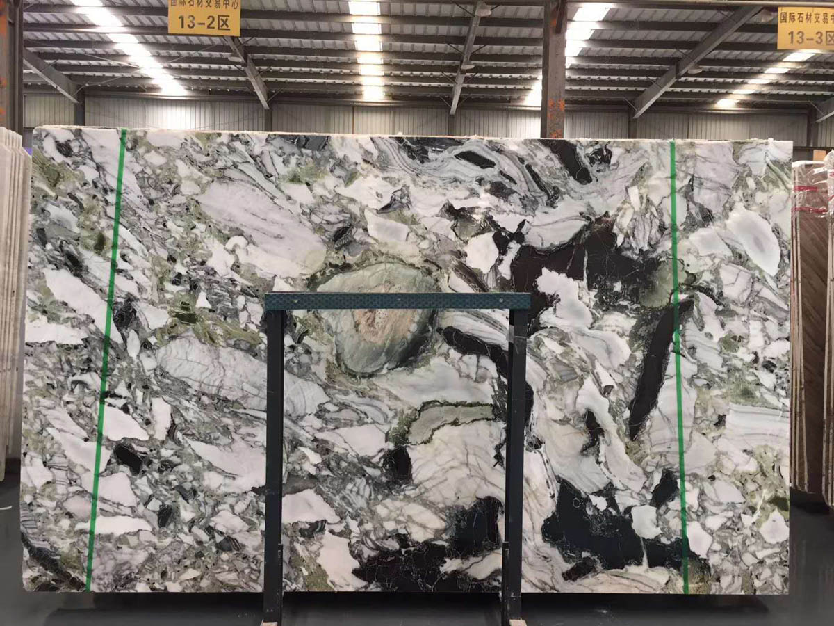 China Ice Connect Marble Slabs White Beauty Chinese Green Ice Green