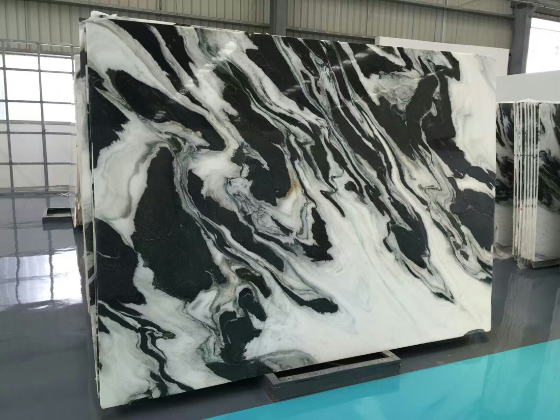 China Landscape Painting White Marble Slabs