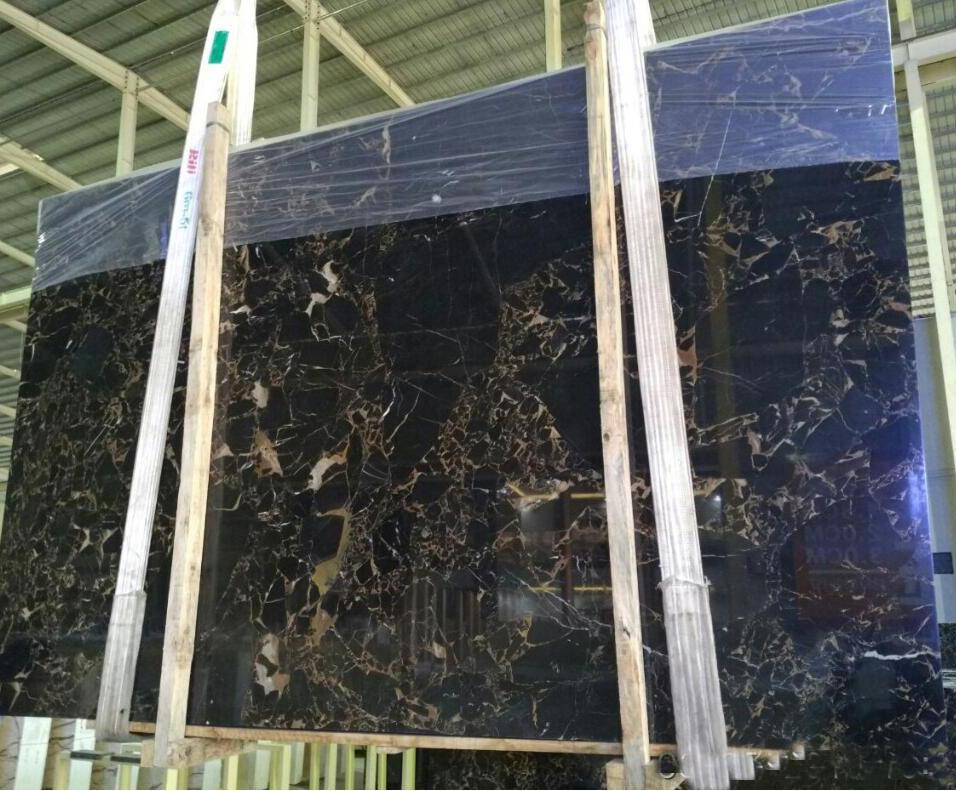 China Portoro Marble Slabs Polished Black Marble Slabs