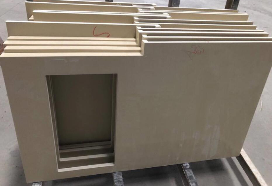 Chinese Beige Recycled Glass Stone Kitchen Countertops