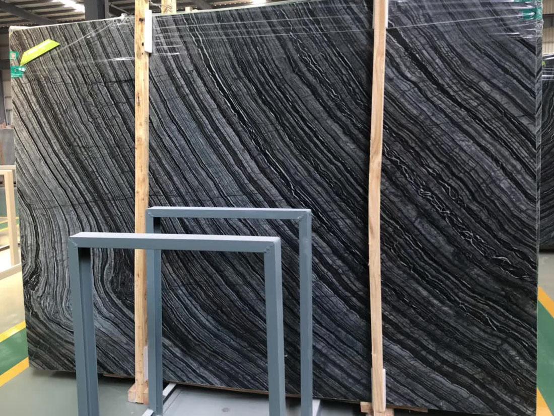 Chinese Black Marble Slabs Silver Wave Marble Slabs