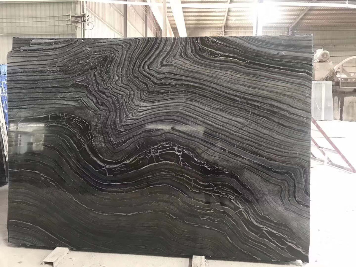 Chinese Cheap Black Tree Wood Veins Marble Slab