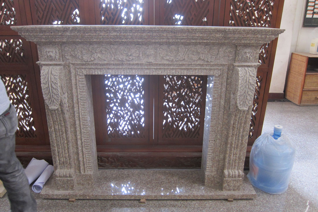 Chinese G687 Peach Red Granite Fireplace