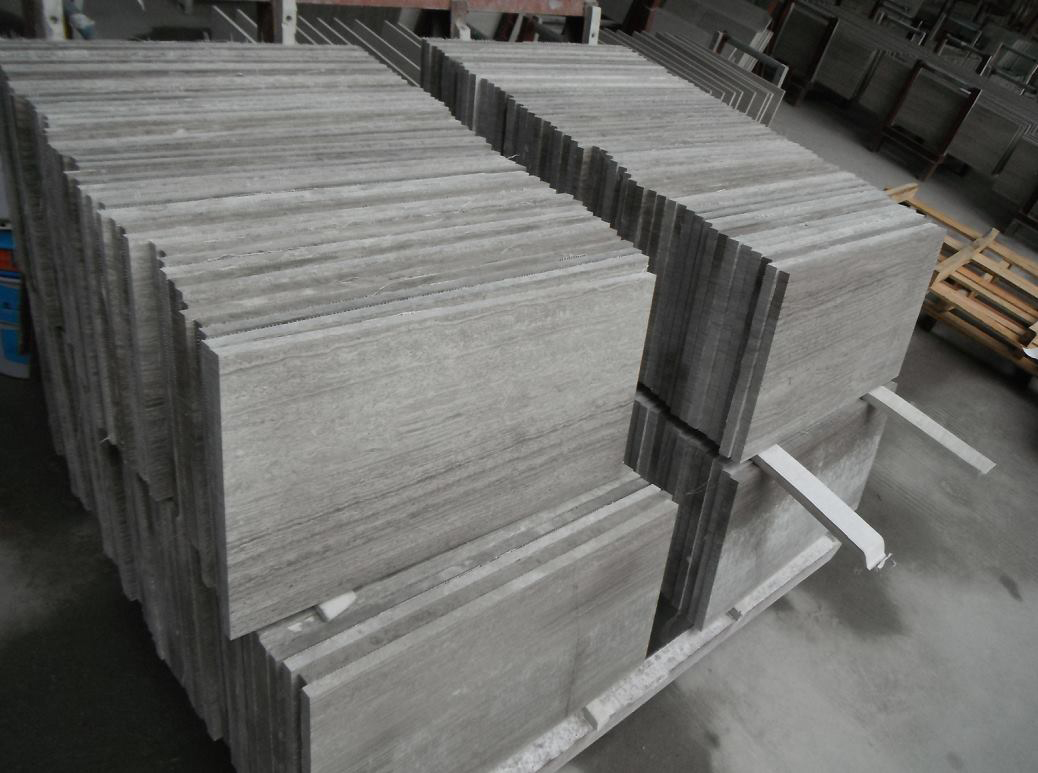 Chinese Grey Wood Marble Tiles Flooring Stone Tiles