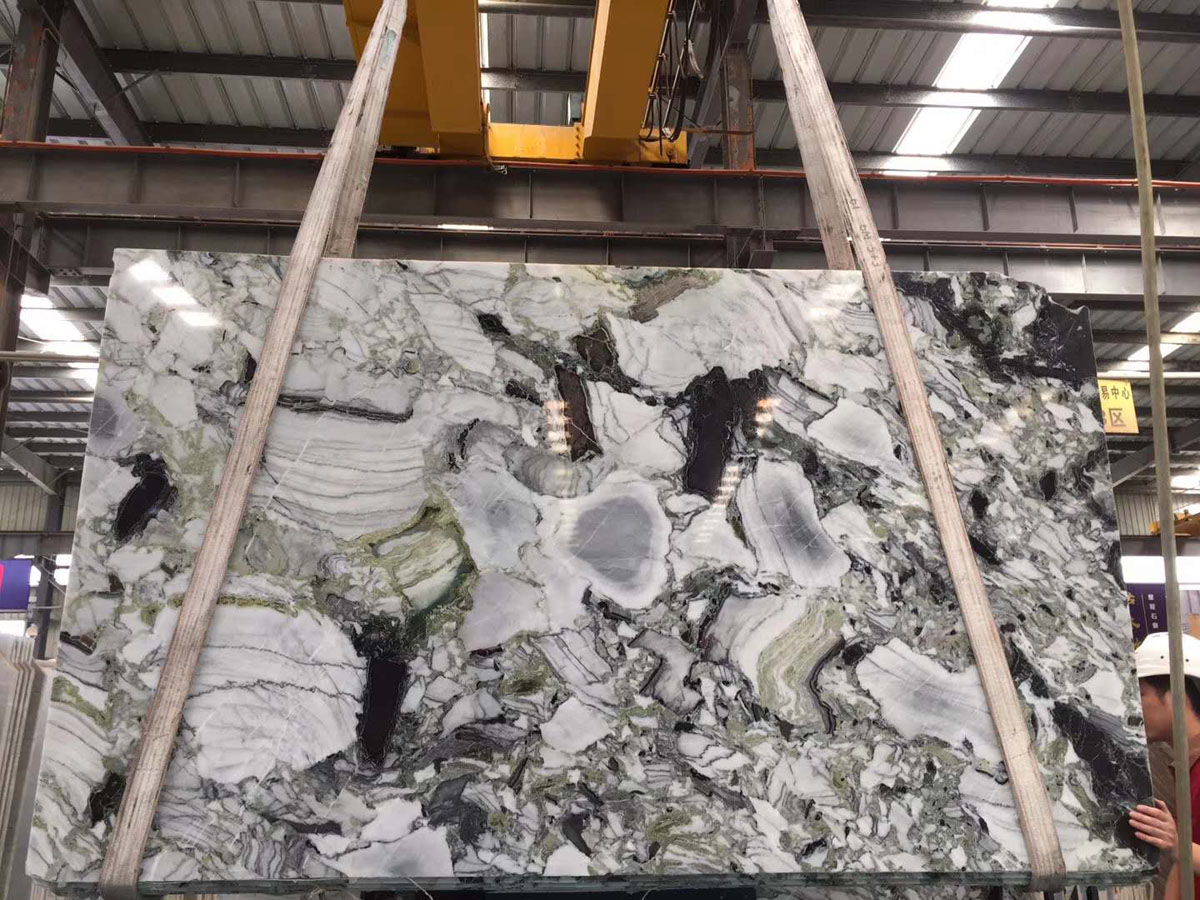 Chinese Ice Green Marble Slabs White Beauty Slabs