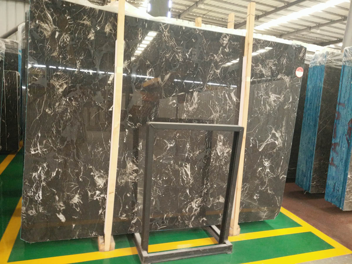 Chinese Mooney Black Marble Slabs