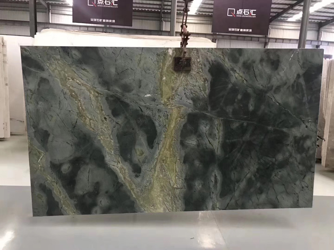 Chinese Peacock Green Marble Slabs Polished Green Slabs