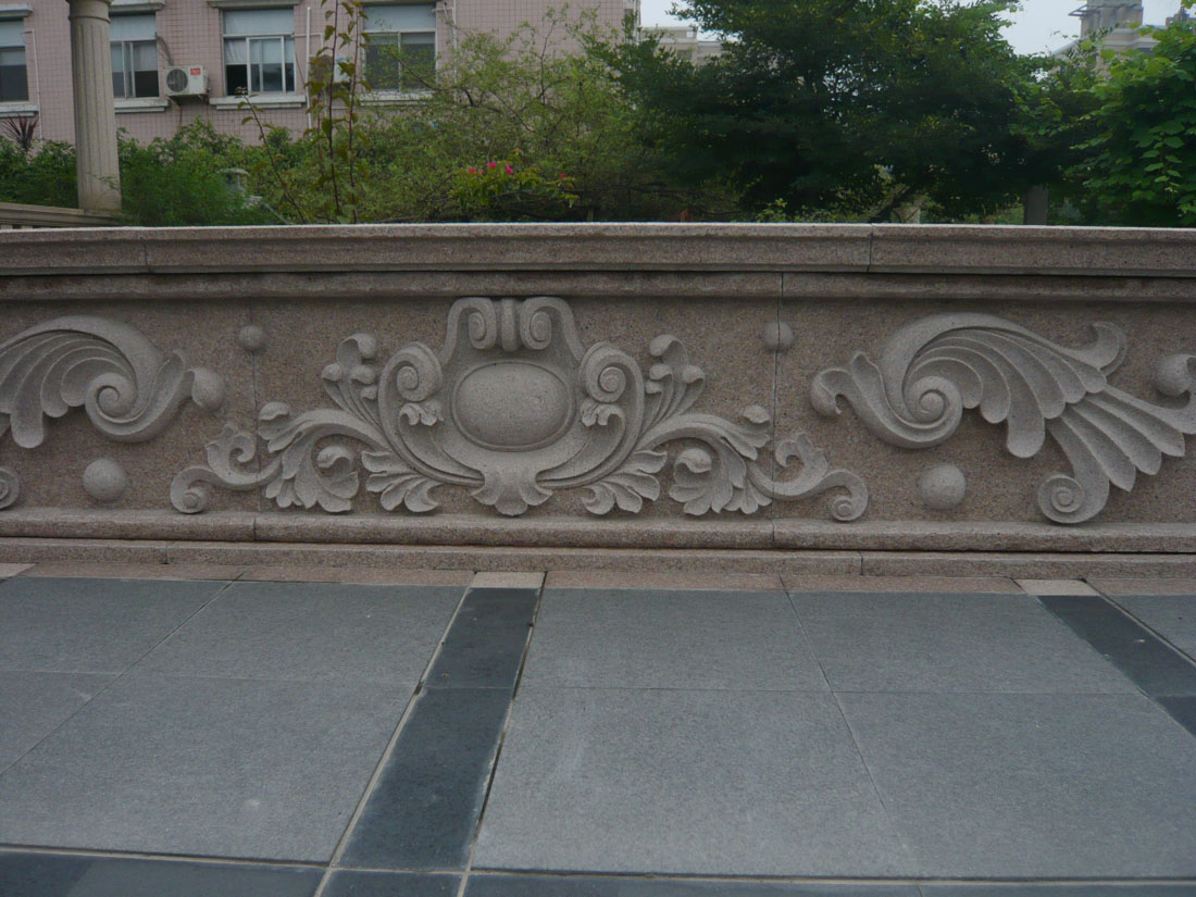Chinese Pink Granite Wall Stone with Stone Carving
