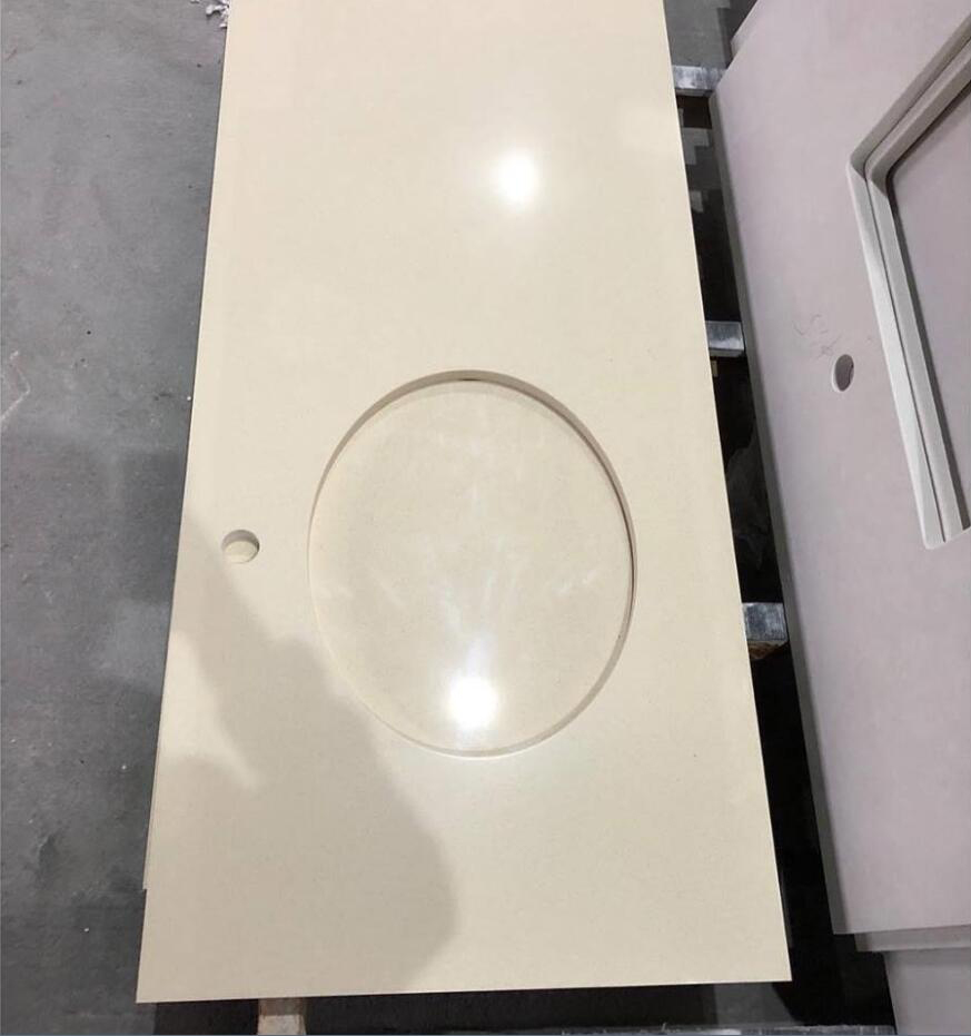 Chinese Polished Beige Recycled Glass Stone Vanity Tops
