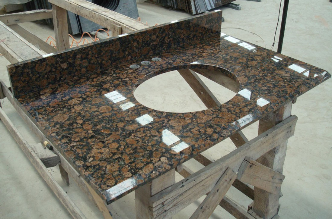 Chinese Polished Brown Granite Vanity Tops