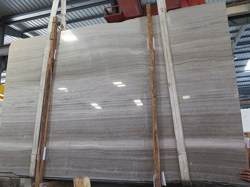 Chinese Polished Grey Wooden Veins Marble Slabs