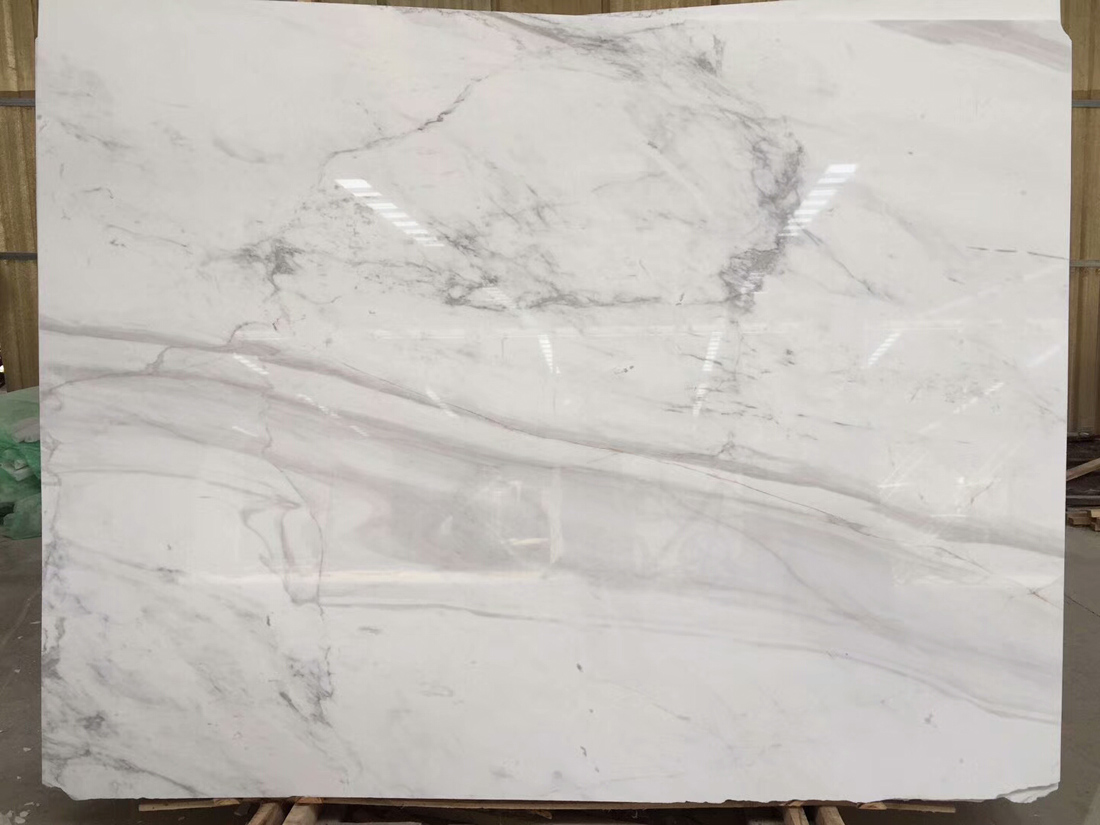 Chinese Polished White Volakas Marble Slabs