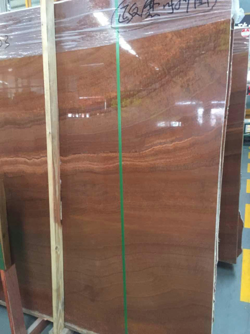 Chinese Red Wooden Grain Red Polished Red Marble Panels