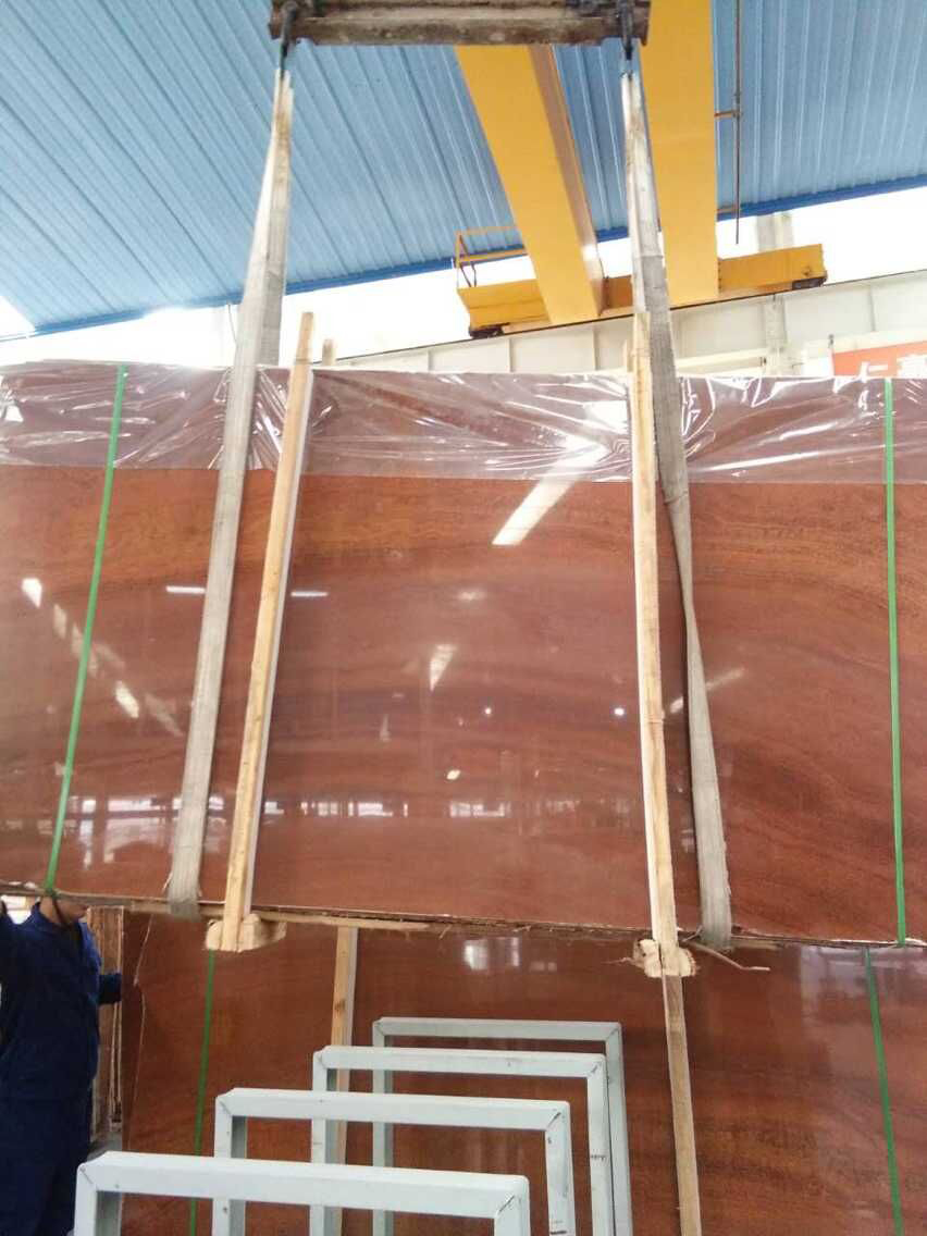 Chinese Red Wooden Grain Red Polished Red Marble Slabs
