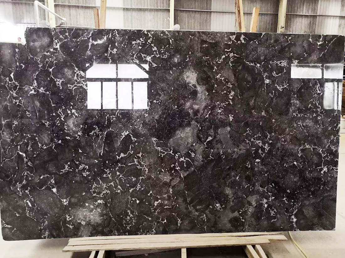 Chinese Romantic Gray Polished Grey Marble Slabs