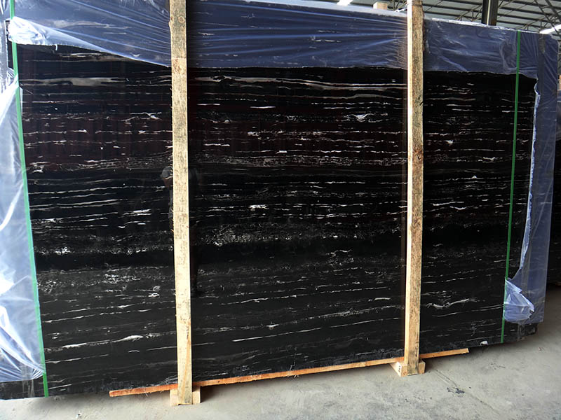 Chinese Silver Dragon Marble Slabs Black Polished Marble Slabs