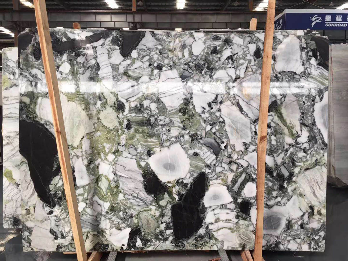 Chinese White Beauty Ice Green Marble Slabs