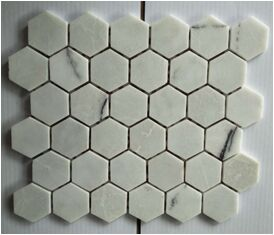 Chinese White Crema Marble Hexagon Mosaic