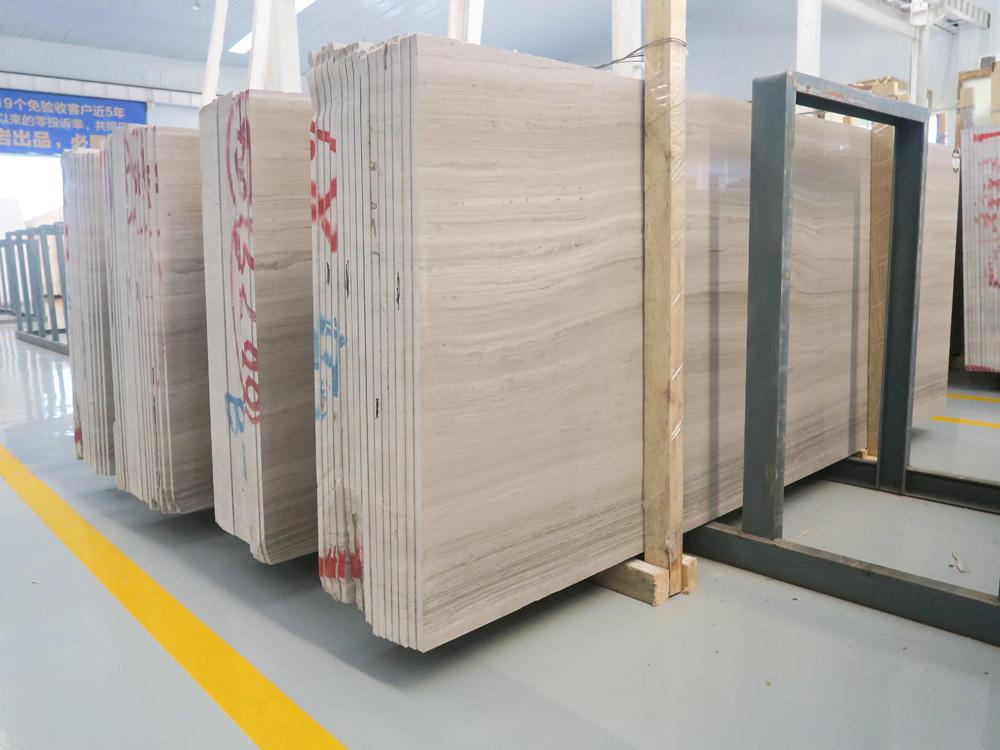 Chinese White Wooden Marble Polished Slab