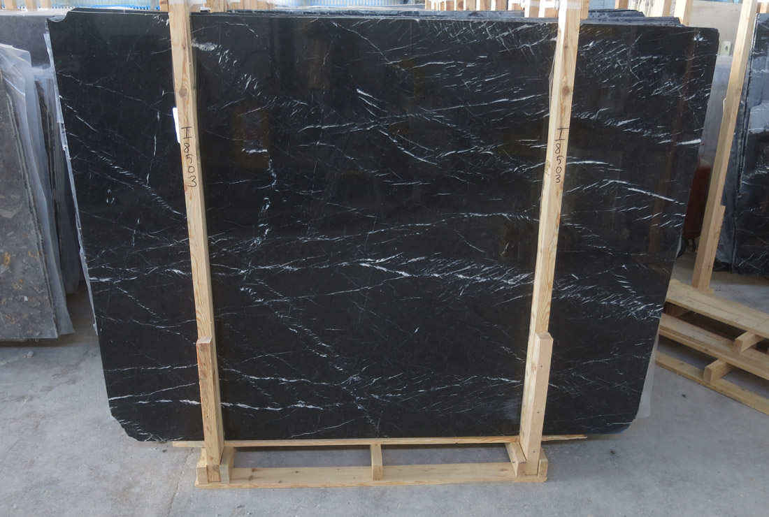 Caspian Black Marble Slabs Polished Marble Stone Slabs