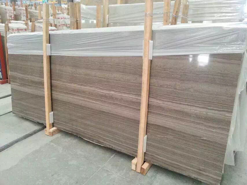 Coffee Brown Wooden Grey Eramosa Marble Slab With Own Factory And Own Quarry