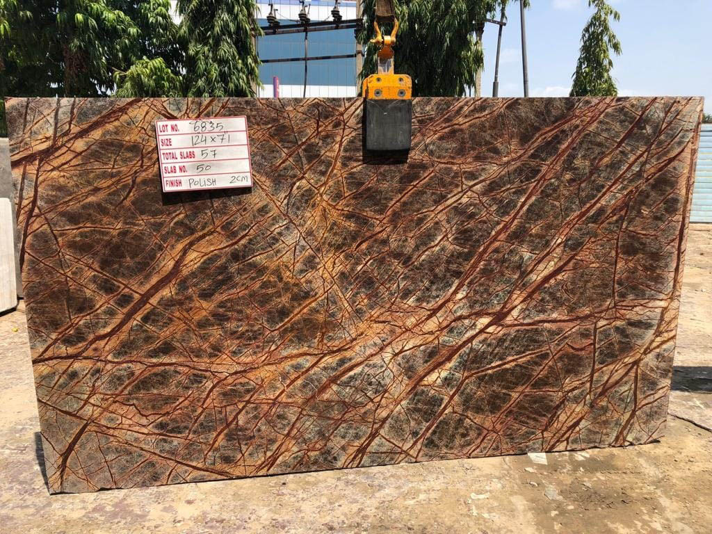 Competitive Rainforest Brown Slab Brown Marble Slabs from India