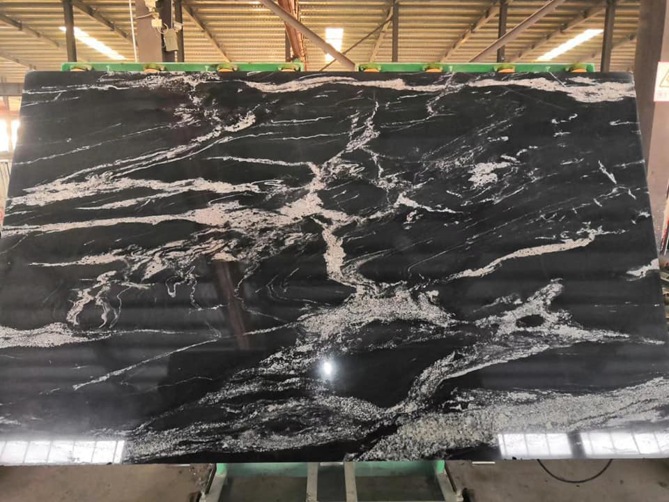 Cosmos Black Granite Polished Black Granite Slabs